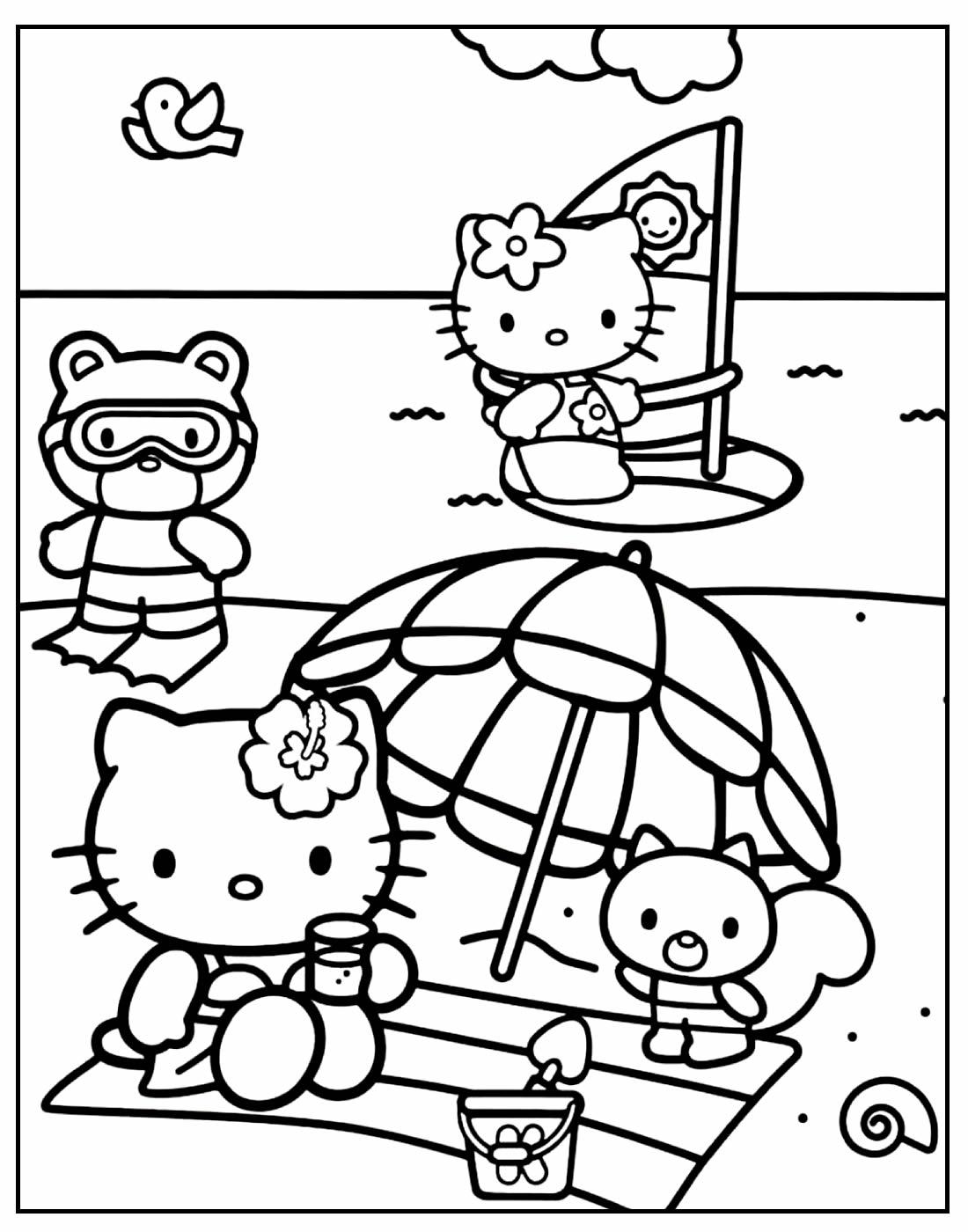 Página para colorir da Hello Kitty