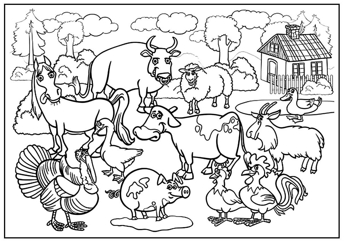 Lindo desenho para colorir de Animais da Fazenda