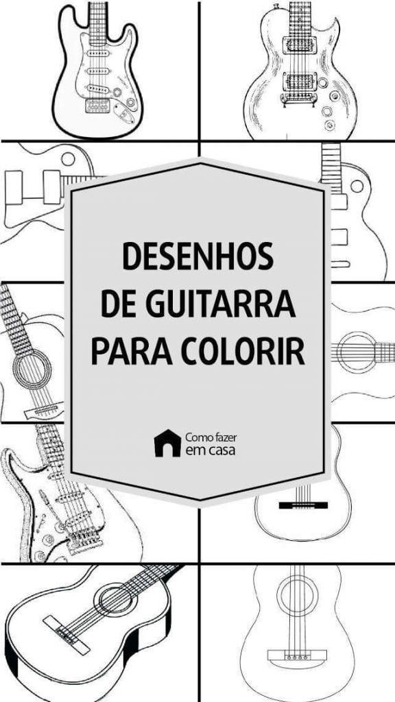 desenhos de guitarra para colorir