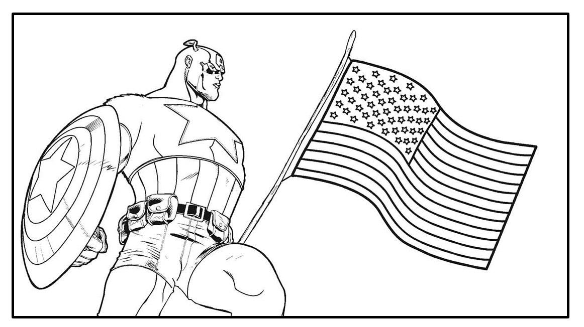 Página para colorir do Capitão América