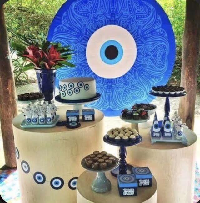 decoração de festa tema olho grego