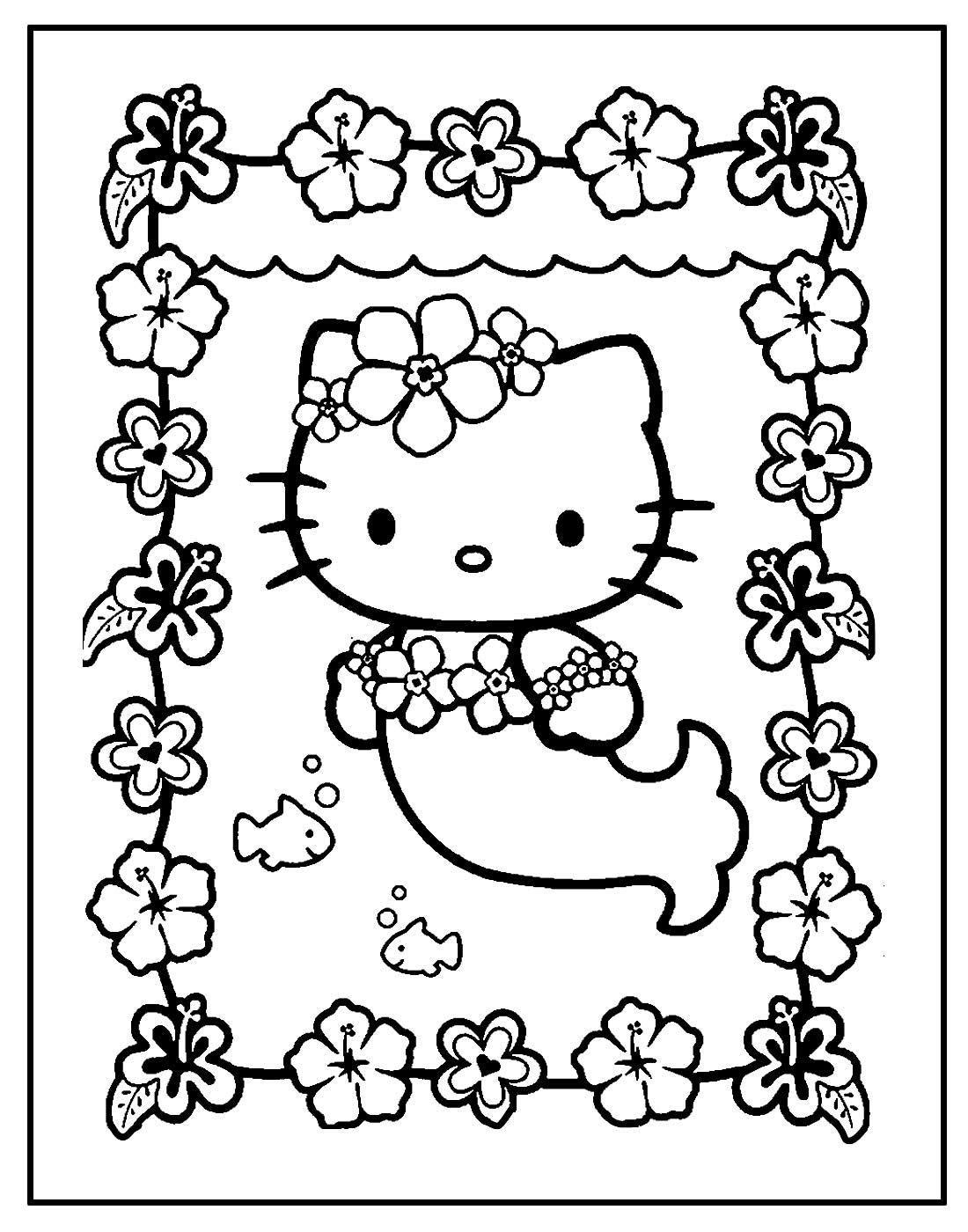 Desenho de Hello Kitty para pintar e colorir