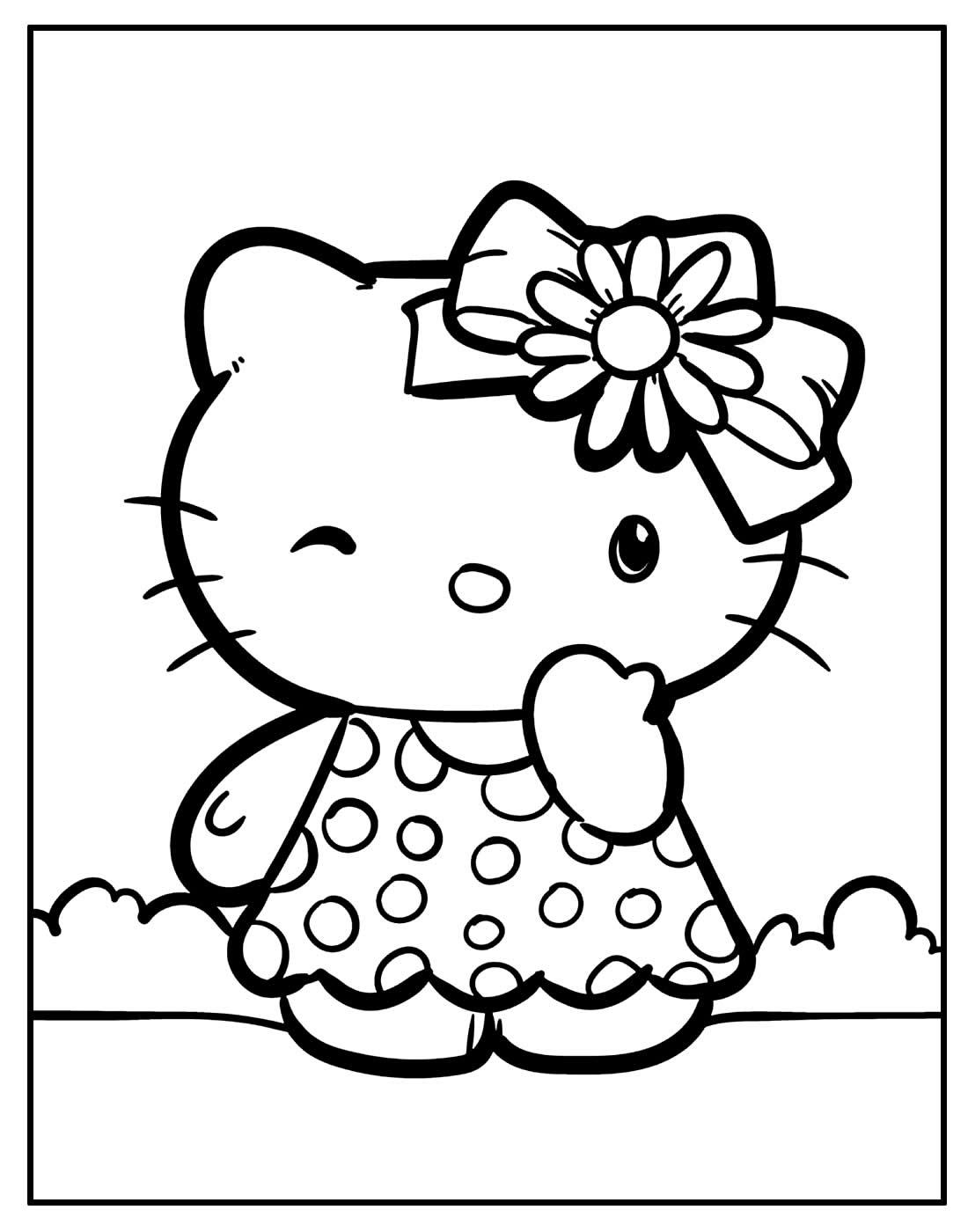 Página para colorir de Hello Kitty